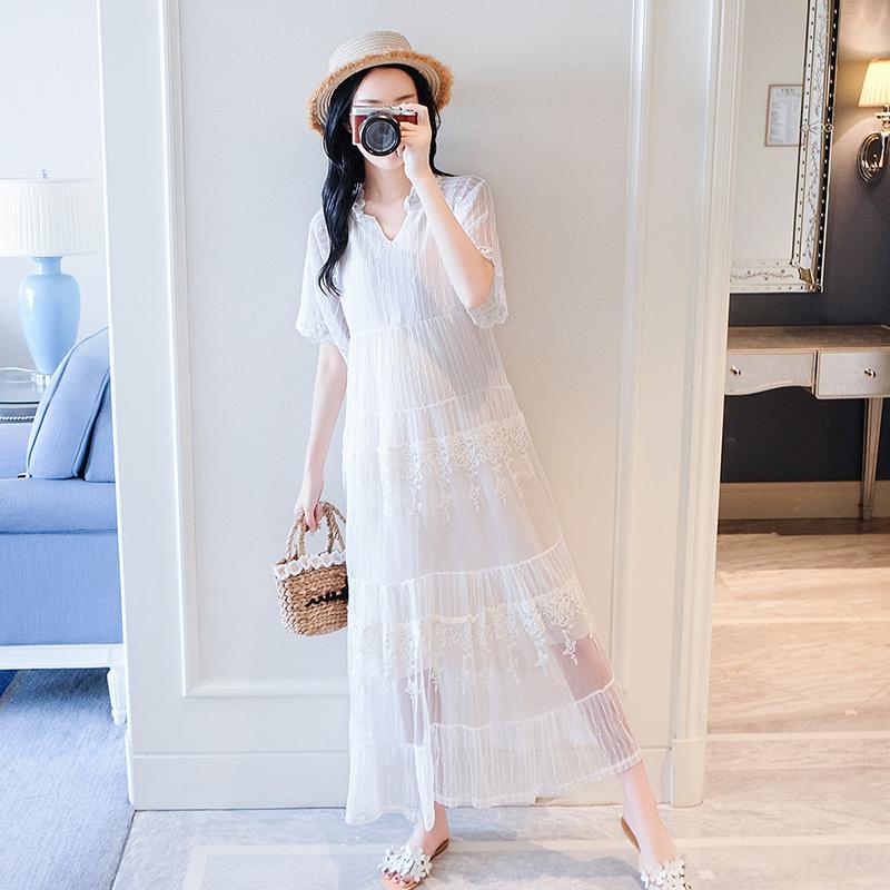 孕妇连衣裙夏季宽松中长款韩版网纱短袖白色孕妇裙孕妇装夏装上衣