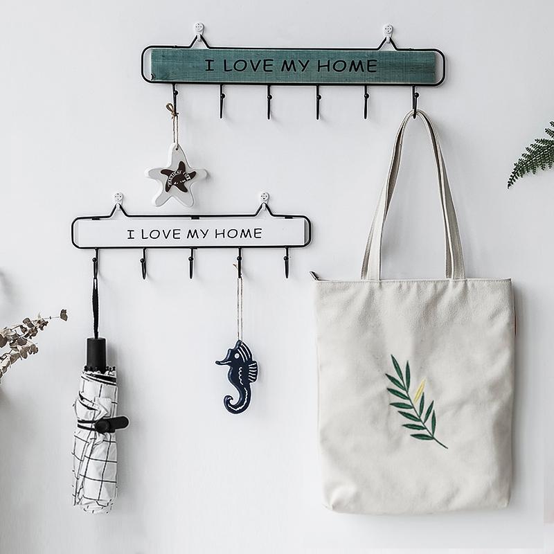 玄关钥匙挂钩壁挂式收纳门口墙上挂衣架创意北欧装饰衣帽子置物架