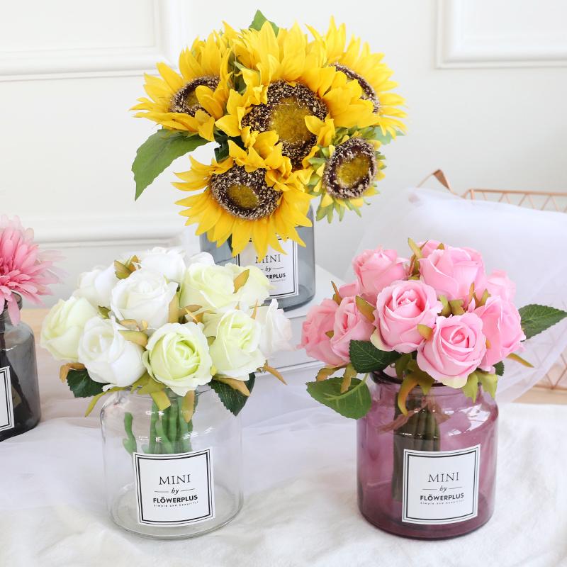 仿真花向日葵玫瑰花束假花�[件客�d�[�O餐桌花�茶��[花瓶�b�花