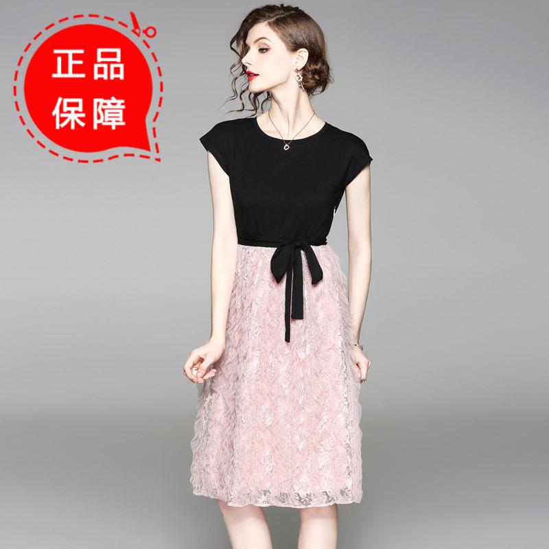 月光石女装新款时尚修身黑色粉色拼接假两件连衣裙AL8819
