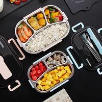304不锈钢分格保温饭盒日式上班族便当盒便携分隔微波炉加热餐盒