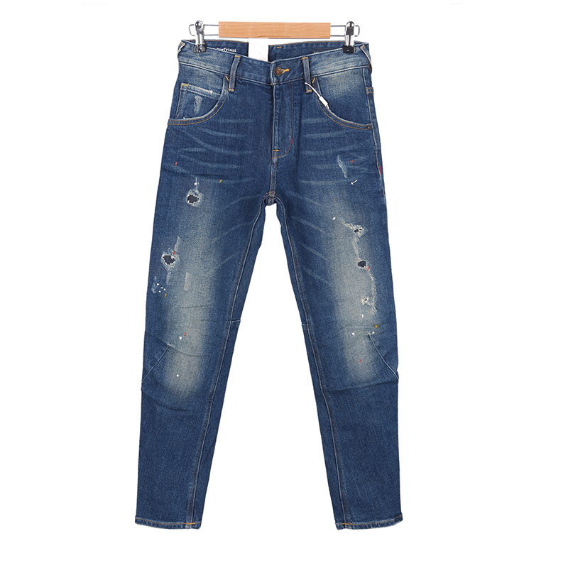 AI series Street womens 3D three-dimensional boyfriend wide version personality retro wash old paint splashed tapered jeans