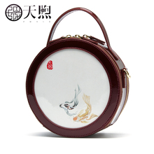 New Mini Round Bag Retro Hand-held Bill of Lading Shoulder Crossing Bag China Fengshu Small Bag Round Women's Bag