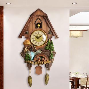 汉时欧式客厅装饰布谷鸟挂钟钟表田园风卡通儿童小鸟报时时钟HP33