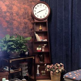 汉时钟表客厅实木落地钟简约立钟创意装饰储物座钟报时石英钟G635