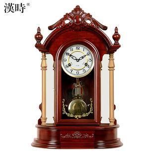 客厅欧式座钟实木钟表机械台钟大号时钟创意中堂装饰财神座钟HD07