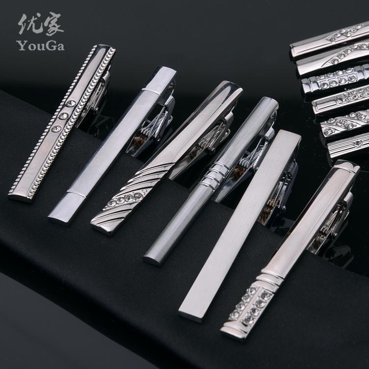 Youga простой серебро мужской стандарт зажим для галстука маленький корейский узкий зажим для галстука высококачественных подлинный волна