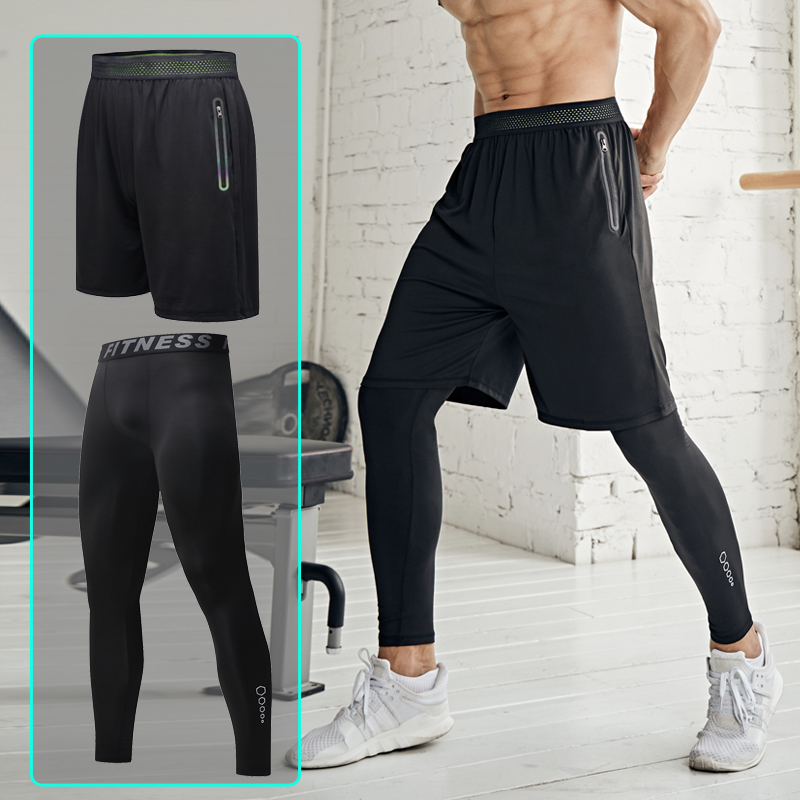 New Xiangnuo sports tight fitness two piece suit elastic running training fast drying shorts loose mens basketball pants