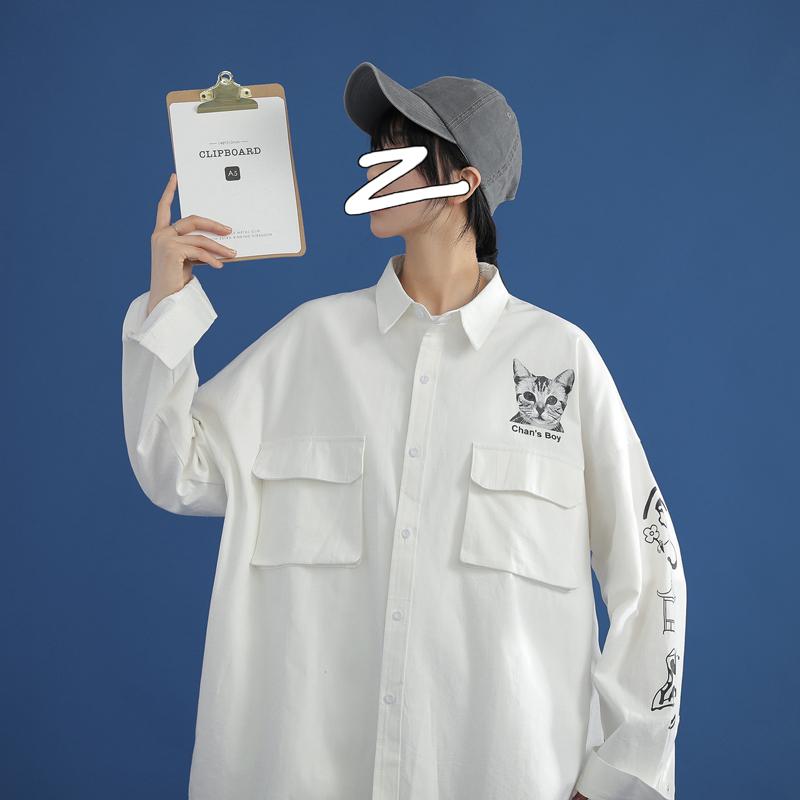 2020新款中性风棉长袖印花衬衣外套714-1-C18-P58,u
