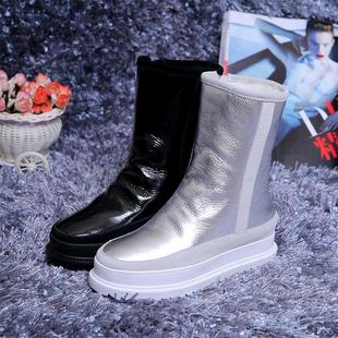 Европа и америка зима мелочь толстая корка теплый цельная овечья шкура снег сапоги женщина натуральная кожа ботинки хлопковые сапоги скольжение трубка ботинок