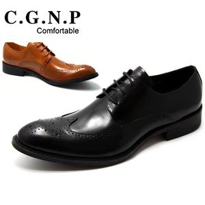 復古英倫風 男士尖頭商務正裝皮鞋真皮系帶布洛克雕花男鞋子 正品