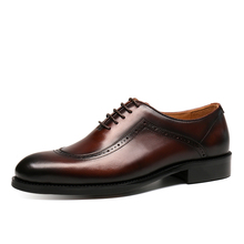High-end hand-made leather shoes Block carved men's shoes Business suit leather shoes Men's genuine leather lace trend Oxford single shoes