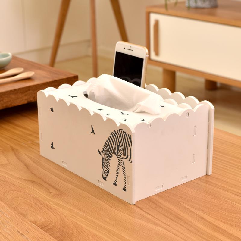 创意多功能桌面遥控器收纳纸巾盒家用简约北欧ins客厅茶几抽纸盒