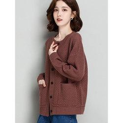 欧版开衫外套时装版通勤女装轻熟针织镂空韩版气质春秋毛衣薄外搭