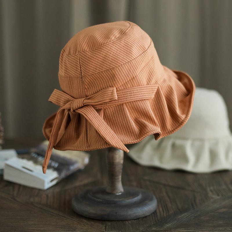 11月16日最新优惠Mismemo 小沿渔夫帽女春夏休闲可折叠盆帽简约蝴蝶结条纹太阳帽子