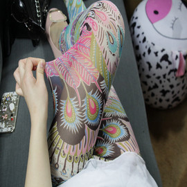 彩色打底裤女外穿薄款网纱夏天波西米亚高腰弹力安全裤夏季九分裤