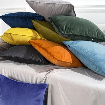 北欧靠枕纯色天鹅绒沙发抱枕 欧式简约沙发靠垫腰枕床头抱枕靠背