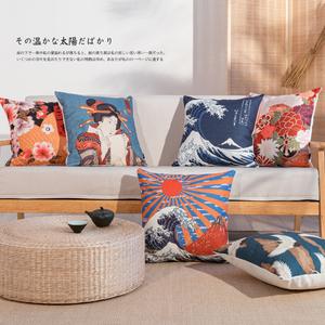 日式棉麻布艺抱枕靠枕沙发靠垫靠背和风浮世绘抱枕床头靠垫民宿风