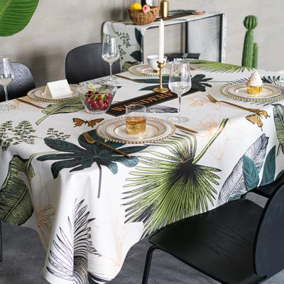 美式棉麻餐桌布艺ins桌布防水防油免洗北欧书桌布长方形茶几桌布