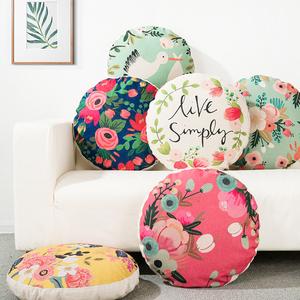 田园棉麻抱枕办公室文艺靠垫布艺沙发靠枕花朵圆枕乡村圆形枕靠背