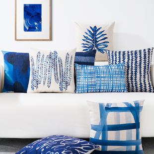 地中海蓝色简约棉麻抱枕北欧ins靠垫办公沙发靠垫汽车布艺靠枕