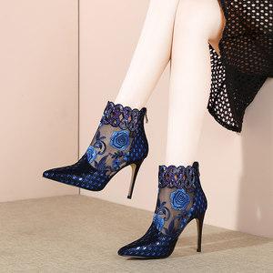 春真皮网靴性感尖头细高跟鞋透明网纱花朵凉靴镂空水钻凉鞋女踝靴