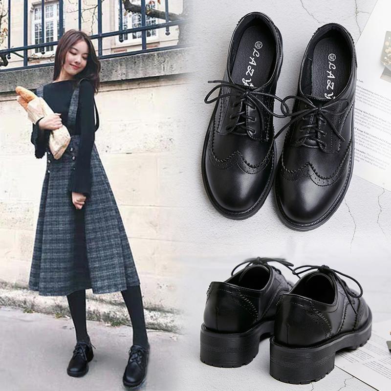 真皮小皮鞋女冬季加绒黑色英伦风舒适久站百搭软底厚底软皮工作鞋