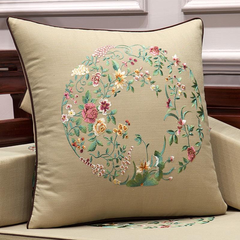 满176.00元可用88元优惠券中式棉麻抱枕红木沙发刺绣靠枕1036客厅家用大靠背靠垫含芯