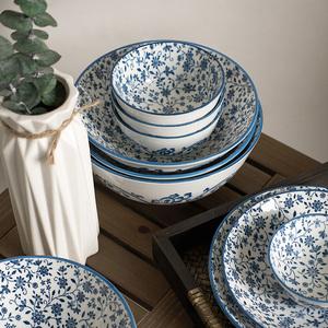 老瓷匠餐具套装家用碗盘日式陶瓷器景德镇釉下彩家庭筷餐具套装勺