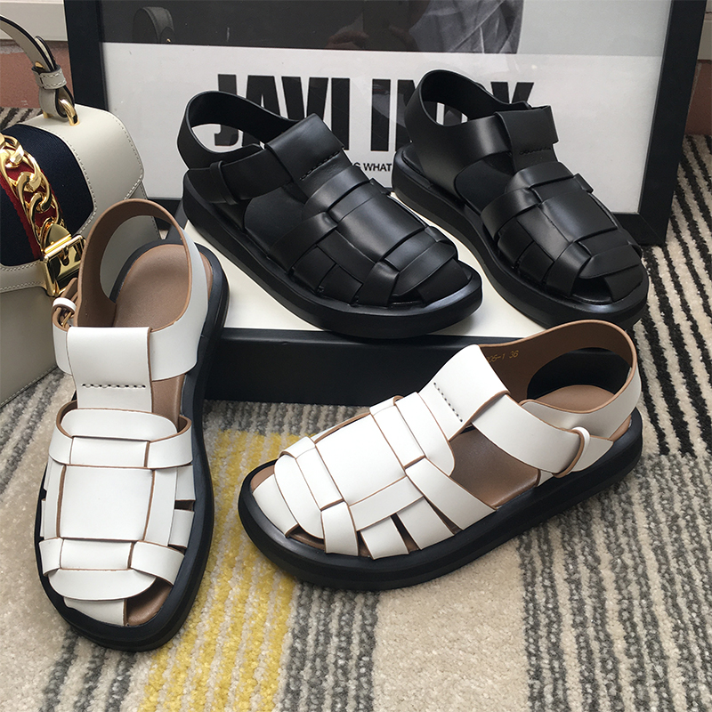 Poetry blue 2020 new European station Roman sandals womens leather thick bottomed pigsty retro buckle shoes
