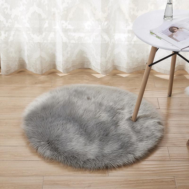 圓形地毯長毛美式簡約防滑混紡毛絨地墊室內床邊腳墊弔籃坐墊拍照