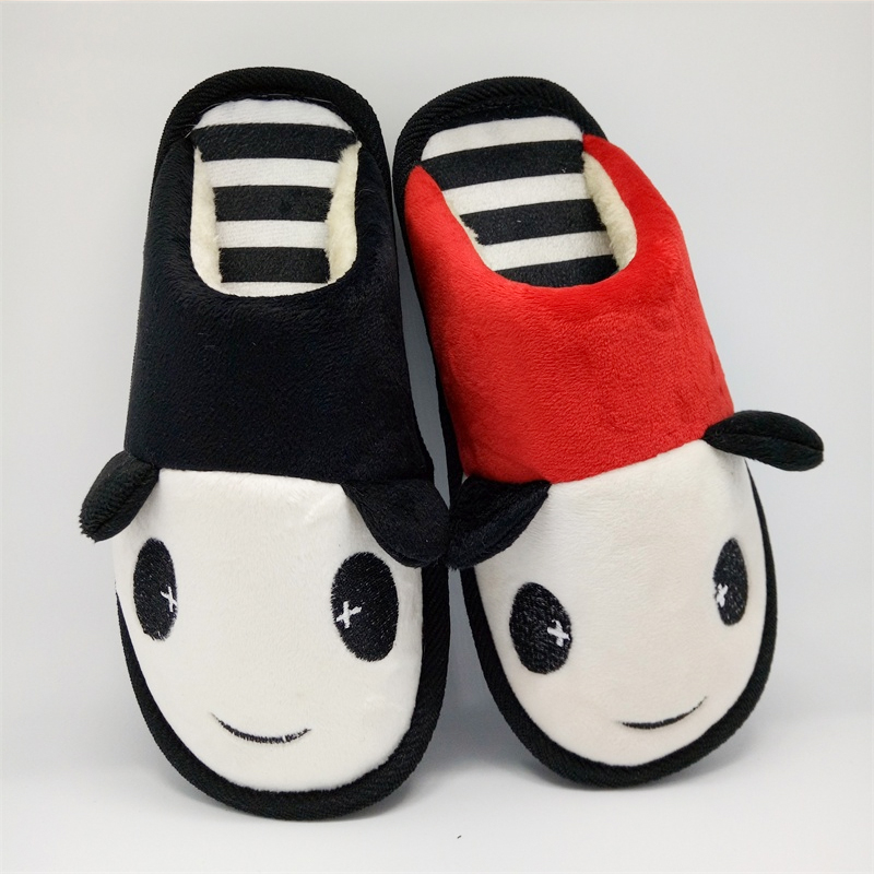 Lovely panda lovers winter thick bottom anti-skid plush cotton slippers home indoor warm cotton shoes mens and womens maternity care