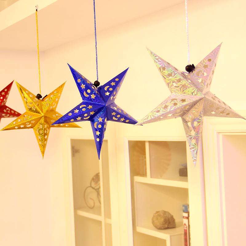 一世缘店庆周年庆装饰布置用品镭射星星五角星挂件节庆装饰品挂饰