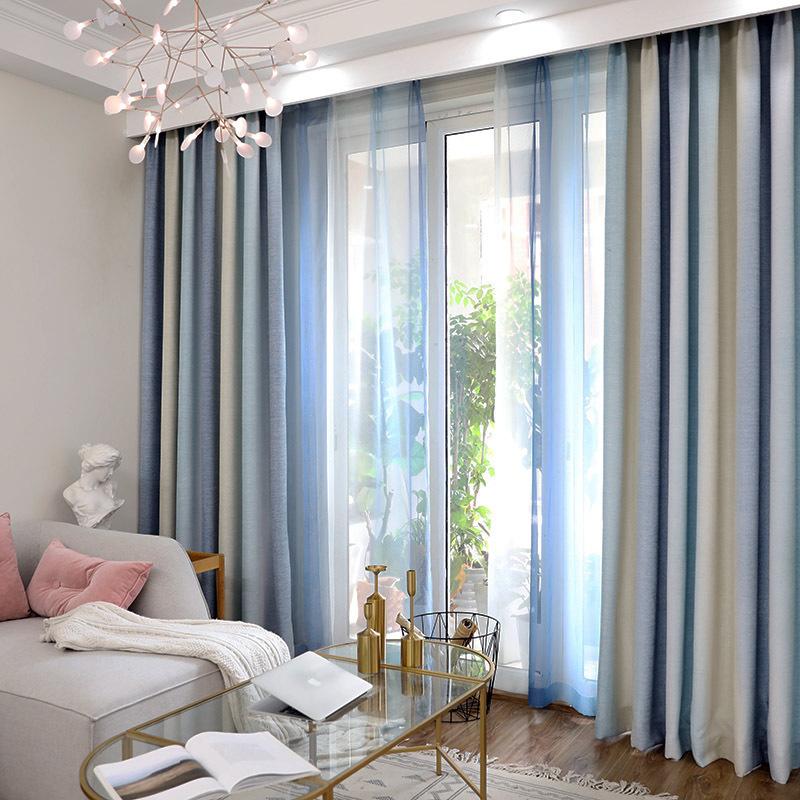 地中海清新蓝色条纹棉麻遮光布窗帘客厅卧室成品定制现代简约美式