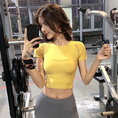 Fitness girl tight-fitting navel sports t-shirt tight-fitting short quick-drying tops running training yoga clothes short-sleeved tide