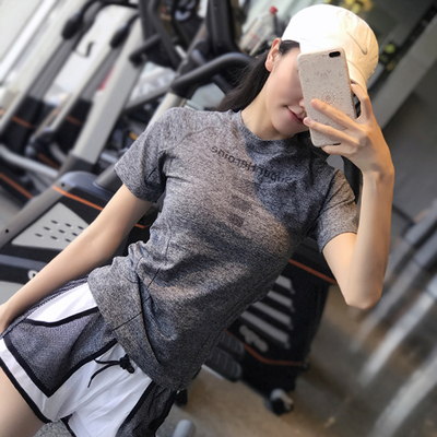 Fitness girl thin tight-fitting sports short-sleeved quick-drying breathable thin top T-shirt running yoga wear half-sleeved