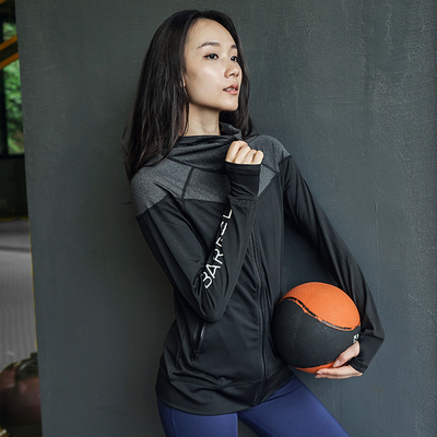 Fitness girl 2021 new Han Fan color matching sports jacket quick-drying stretch and thin running long-sleeved yoga top