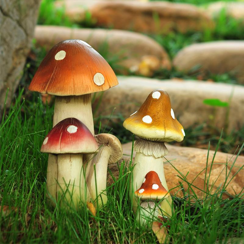 花园装饰庭院摆件仿真蘑菇田园风格公园景观户外造景树脂雕塑摆设 Изображение 1