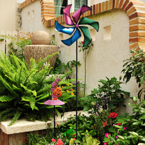 彩色大风车装饰户外旋转七彩铁艺工艺品插件别墅花园庭院田园摆件