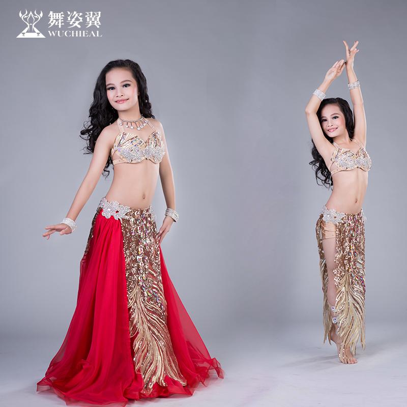 Рубец кожа танец ребенок практика гонг одежда танец поза крыло 2017 новый юбка танец производительность производительность костюм RT182