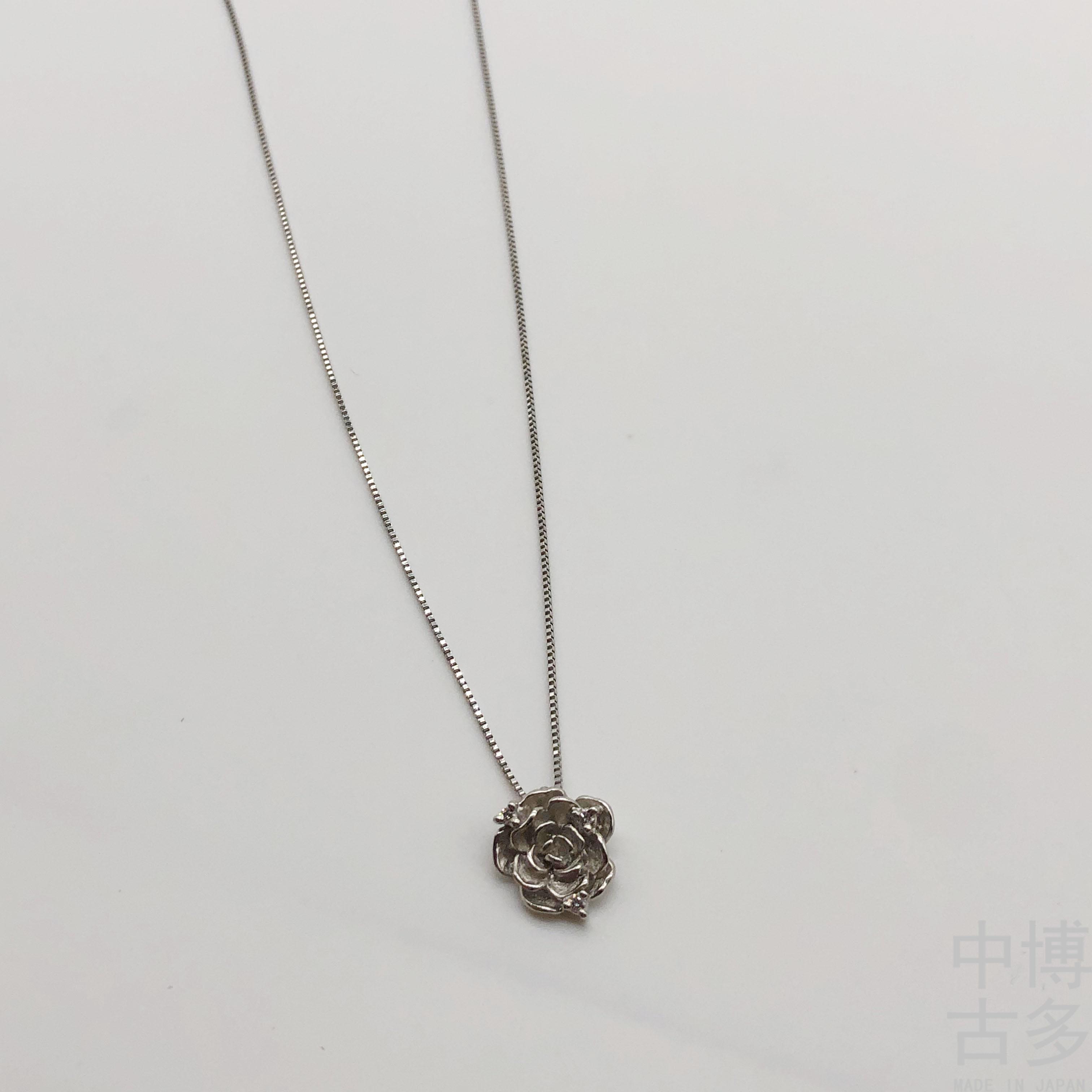 顺丰秒发日本中古PT900/850铂金钻石项链 花朵造型 轻奢首饰珠宝