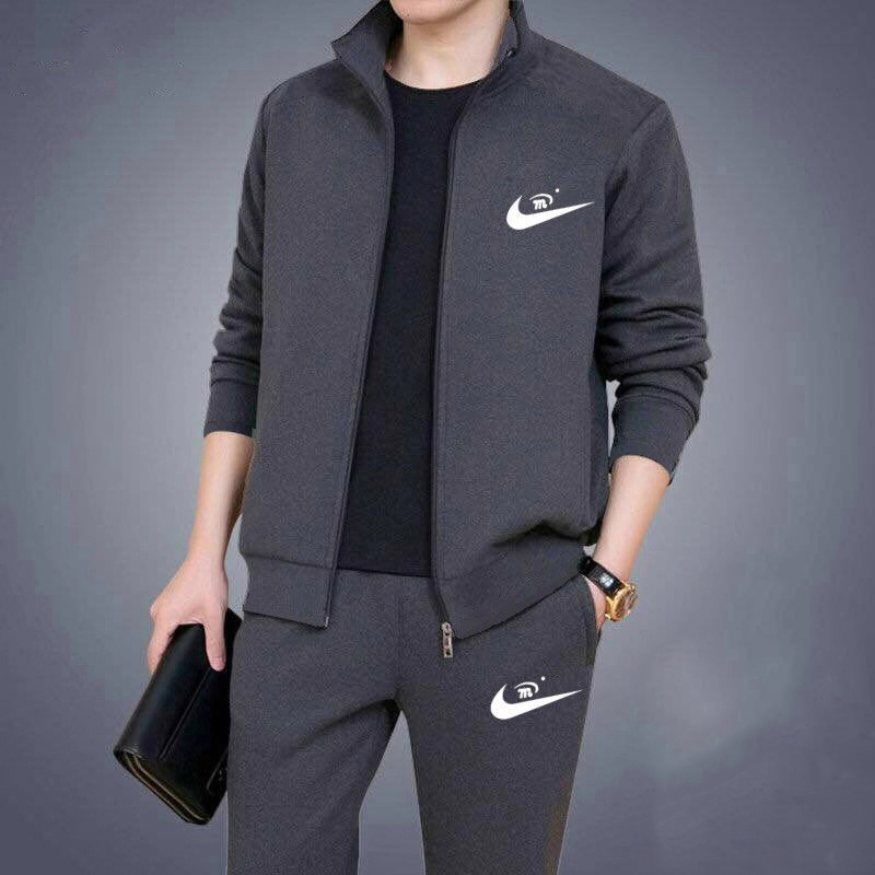 Mens sweater spring 2020 casual middle aged and elderly mens wear fathers wear sports suit large mens casual coat