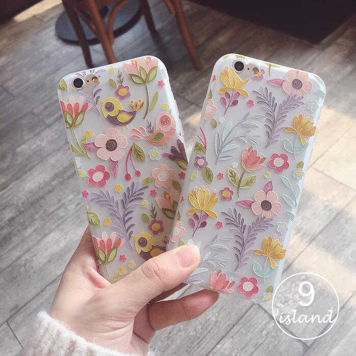 一只猫数码Y9夏天花朵小鸟iPhone6 6S硅胶手机壳苹果6plus外壳