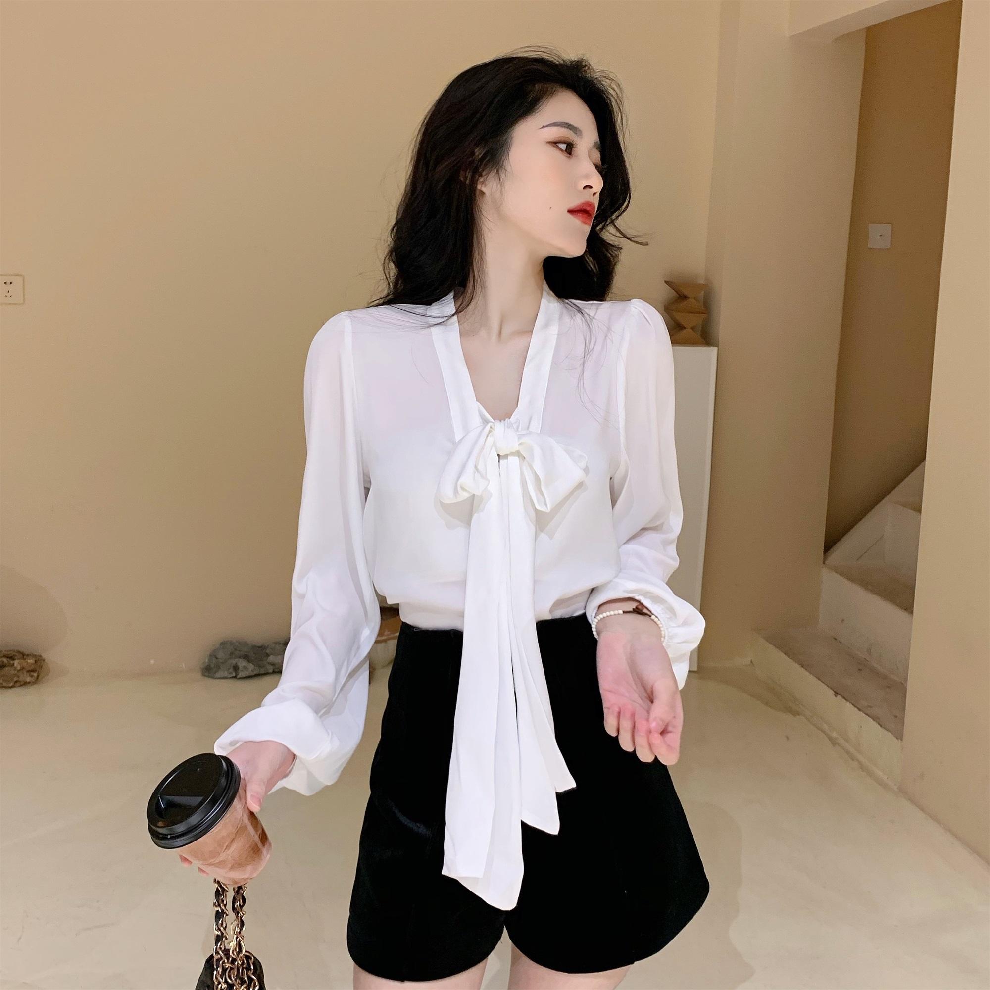 实拍实价 蝴蝶结绑带设计感小众白衬衫女百搭气质显瘦上衣