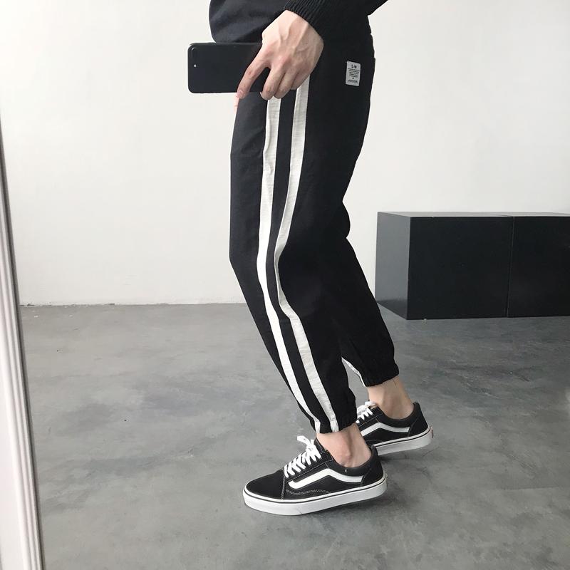 热销8件限时抢购夏季新款男裤子日系复古撞色九分裤