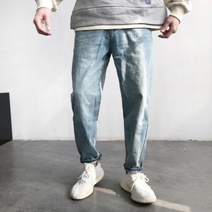 夏季休闲浅蓝色裤子男生潮流哈伦小脚牛仔裤宽松长裤男韩版男裤潮