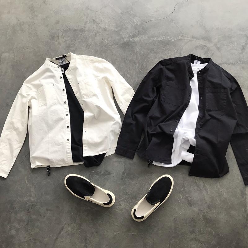 男装秋季新款日系纯色圆领休闲长袖衬衫青年潮流帅气百搭修身衬衣