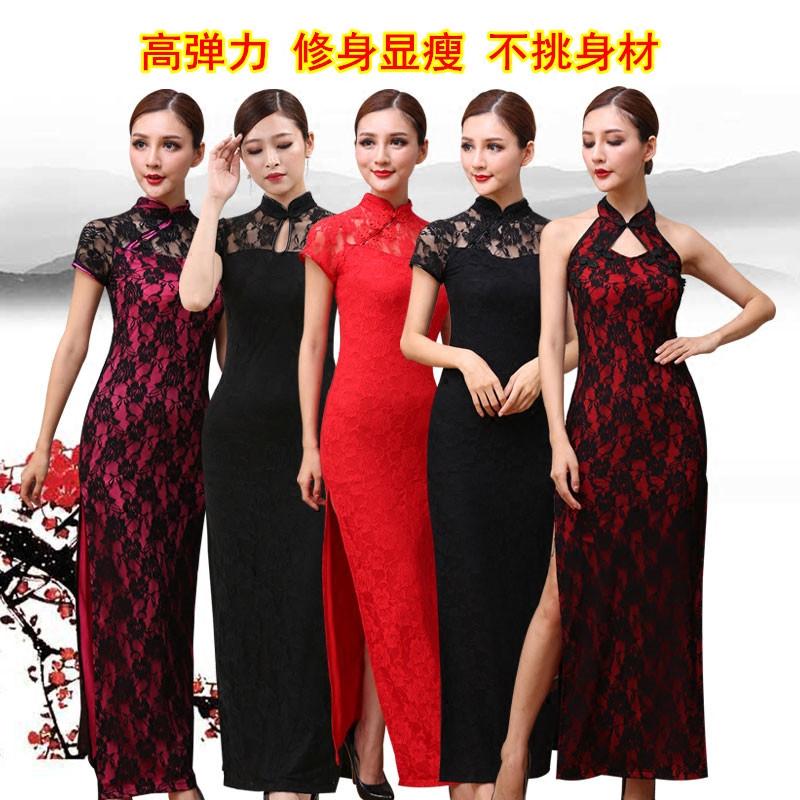 夏季走秀广场舞蹈旗袍2020长款礼仪迎宾小姐修身演出服装秀色梦舞