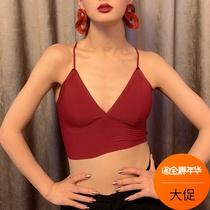 WYZ盖盖街舞JAZZ舒适背心打底胸罩无钢圈性感红色吊带无痕背心