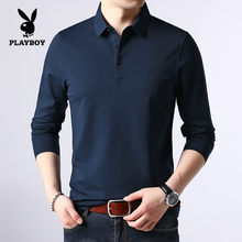 Playboy spring and autumn mulberry silk men's long sleeve T-shirt middle-aged dad winter plus Plush thickened base coat